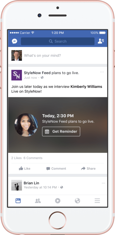 fb live reminder-features on social networks