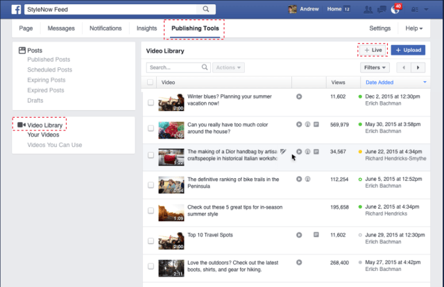 live scheduling- features on social networks